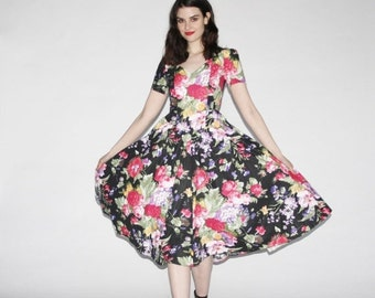 75% OFF FINAL SALE - Vintage Party Dress - Floral Party Dress  - The Summer Darling Dress   - Wd0163