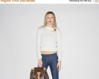 75% OFF FINAL SALE - Vintage 60s Cable Knit Sweater - 1960s Ivory Sweater - The Run Away and Fall in Love Sweater - Wt320