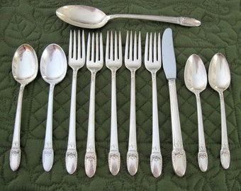 11 Pieces 1847 Rogers Silverplate First Love Pattern Forks Spoons Knife Circa 1930's