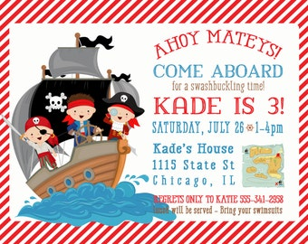Pirate Birthday Invitation - Pirate Boy Birthday Party - Sailboat - Nautical Party