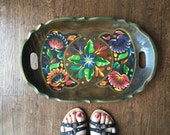 Vintage Batea art platter, hand carved and hand painted mexican folk tray