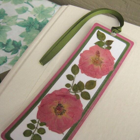 Laminated Pressed Flowers ~ Pink rose pressed flower laminated bookmark