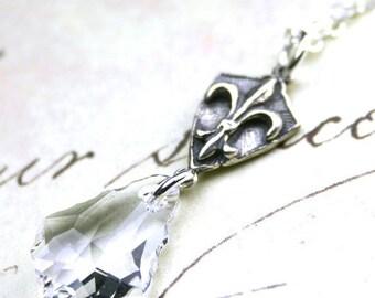 ON SALE Fleur-de-Lis and Swarovski Baroque Crystal Pendant - Handmade Sterling Silver and Swarovski Crystal Necklace