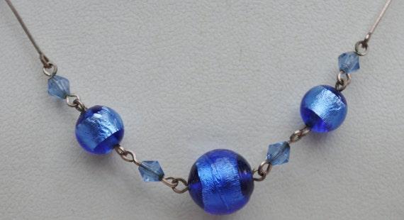 Antique  - Genuine Art Deco -  Azure blue Glass and Foil Beaded necklace - c1930s