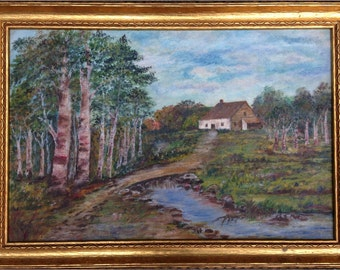 Vintage OIL PAINTING LANDSCAPE - Charming Cottage in Meadow - Framed Antique Oil on Board - Wall Art WoW