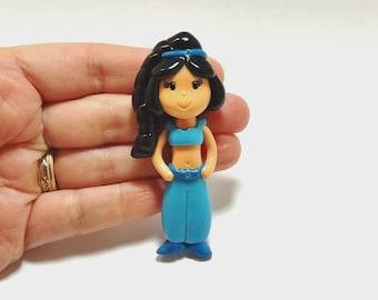 Princess Jasmine Clay Figurine - Jasmine Pendant, Bow Center, Jasmine Ornament, Charm, Brooch, Magnet, Cold Porcelain Clay Jasmine Princess