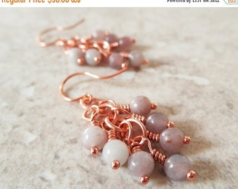 20% OFF SALE Lilac Stone Earrings. Gemstone Earrings. Shaggy Earrings. Cluster Earrings. Solid Copper. OOAK