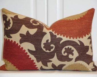 Decorative Pillow Cover - Fahri Clove - Suzani - Throw Pillow - Accent Pillow - Lumbar - Brown - Dark Red - Tan