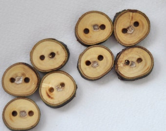 tree branch buttons • set of 8 walnut wood buttons  • wooden button