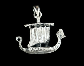 Small Viking Ship Pendant in Sterling Silver