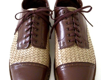 Vintage Men's Two Tone Shoes - Brown and Tan Beige Mens Two Tone Gangster Shoes by Stacy Adams - Mens Leather Oxfords  - Size 8 D