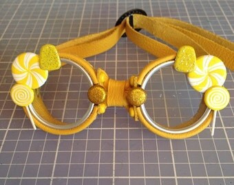 OOAK Blythe Yellow Steampunk Goggles by Kaleidoscope Kustoms - Lemony Snicket