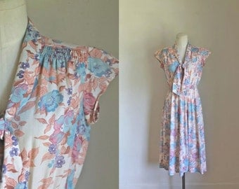vintage 1970s floral dress - PEACH MIMOSA floral day dress / S-M