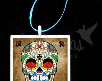 2x2 Ceramic Tile Ornament - Dia de Los Muertos-Day of the Dead Sugar Skull (SSO3) Ready to Ship