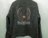 Vintage / Harley Davidson Jacket / 80s / 1980s / Jean Jacket / Denim / Eagle / Indie / Grunge / Rock N Roll / Unisex / Women / Guys / Men
