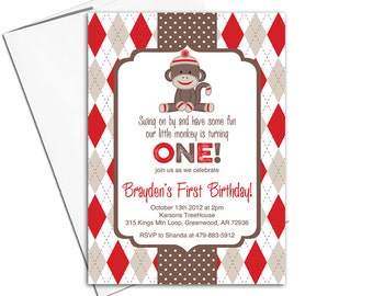 Kids birthday party invitations | Sock Monkey birthday party invites | red and brown argyle | printable or printed - WLP00367