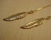 Gold Plated Feathers on Gold Plated Ear Threads-FREE SHIPPING To U.S.- Threader Earrings- Vermeil
