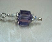 Purple Cube Swarovski Crystals  on Sterling  Ear Threads-FREE SHIPPING To U.S.- Threader Earrings