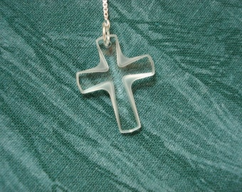Clear Swarovski Crosses on Sterling silver Ear Threads-FREE SHIPPING To US-Threader Earrings/Necklace