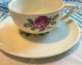 Vintage 2 Piece Tea Cup Set Single Pink Rose #3964