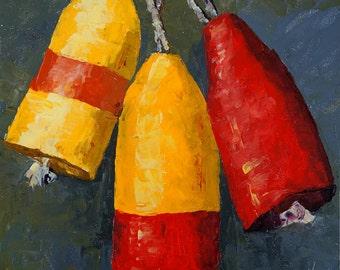 Oil painting: Three Buoys