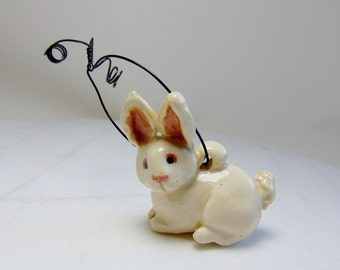 White Rabbit Ornament - Rabbit Figurine - Red Eye White - Bunny Rabbit - Easter Decoration - Ceramic Figurine - Clay Animal