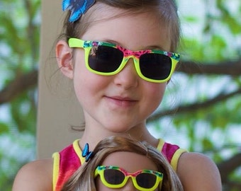 Girl sized Rainforest sunglasses and butterfly hairclip - party favor american girl birthday Lea