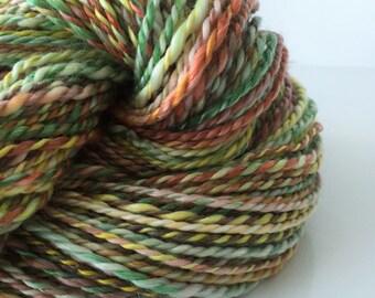 "Handspun Yarn -- ""Oak Leaves"" -- 50/50 superwash merino / tencel -- 124 yards DK weight"