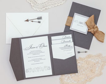 Rustic Burlap Calligraphy Wedding Invitations,Grey Pocketfold Calligraphy Wedding Invitation,Rustic Grey Calligraphy Wedding Invites, Gray
