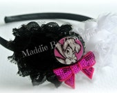 Fairy Headband-Disney Tinkerbell-hot pink black flower-satin sparkle-made by Maddie B's Boutique