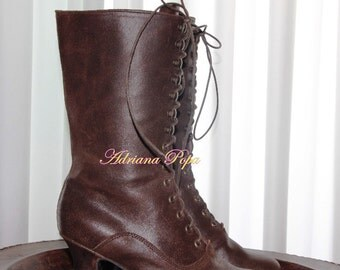 Victorian Boots  Brown Victorian shoes worn brown Ankle dark brown Boots Brown Leather Ankle boots Handcrafted shoes