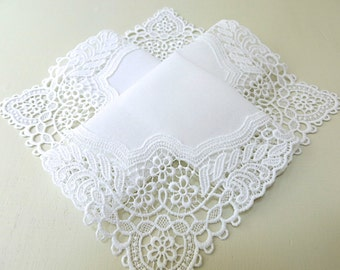 Bridal Accessories: Wedding Handkerchief, White German Plauen Lace Handkerchief Style No. 40736 with Classic 3-Initial Monogram