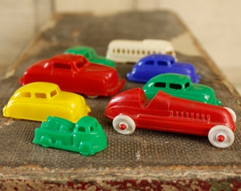 Vintage Car Collection, 1940's Cars, Collectible Antique Cars, Renwal Red Roadster, Trolley, Antique Toy Set, Vintage Toy Cars, Set of Eight