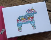 Dala Horse Notebook - Recycled Notebook - Swedish Horse - Liberty of London - Gift for Teacher -  Gift for Her - Gift for Mum - Kid's Gift