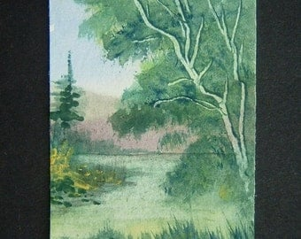 aceo art painting watercolour woodland original (ref 370)