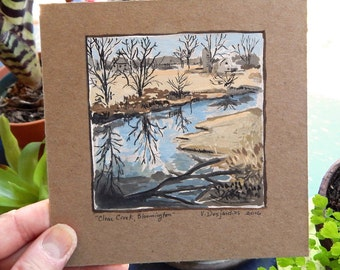 Clear Creek Trail Bloomington Indiana Original Gouache Mini Painting on Gessoed Chipboard
