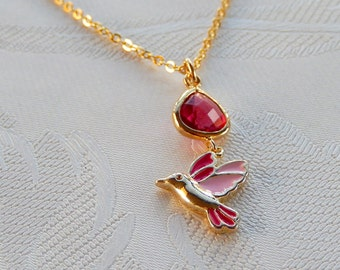 Hummingbird Necklace, Pink Hummingbird, Rose Glass Stone,  Gift for Her