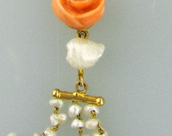 Victorian 14K Rose Pendant w/ Seed Pearls