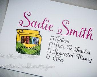 School Days Money or Note Envelopes - Custom Made