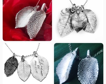 Custom Wedding Fingerprint Leaves with Actual Handwriting and Finger Print Impression, Wedding Pendant, Memorial Jewelry, OOAK