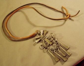 Vintage Sweden Pewter Pendant Necklace Leather Cord Tomahawk Impressed Mark 8723