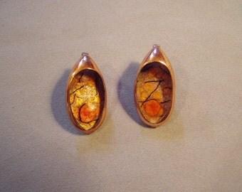Vintage 1950s Matisse Renoir Copper Enamel Clip Earrings Orange Black Enamel 8518