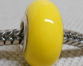 Bright Yellow Color Lampwork Bead Silver Cored Bead Fits European Charm Bracelets