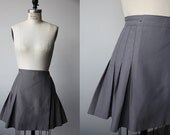 Vintage Blue-Gray Pleated High Waist Mini Skirt Schoolgirl 70s M