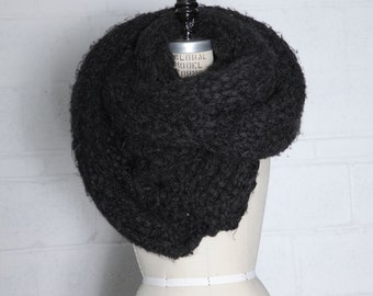 Super Long and Chunky Kniy Scarf Handknit in Charcoal Dark Gray Wool