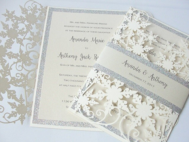 Winter Wedding Invitation Snowflake Wedding Invite December