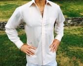 Vintage Shirt Christian Dior Button Down Oxford Long Sleeve w Pocket Pale Pink White Collar w White Stripes 80's Men's Fashion Suit