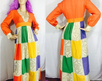 Vintage Dress Jonathan Logan Peasant Maxi Dress Pastel Patchwork & Lace Deep V Neck 60's 70's Bohemian Fashion Prom Dress