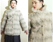 Vintage 1970s Faux Fur Jacket / 70s Grey and Ivory Jacket in Faux Rabbit