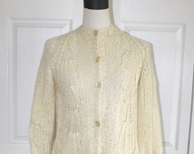 1960s 70s Wool Mohair Cardigan Sweater . Vintage Ivory Knit Hand Made in Italy Lovely Design Sweater . Size Small